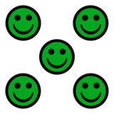 Smiley magneten 2,5 cm groen 5 stuks